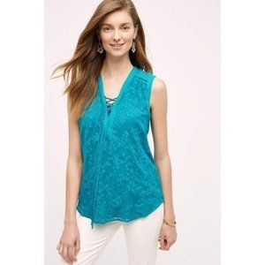 Maeve Embroidered Lace Up Tank in Teal